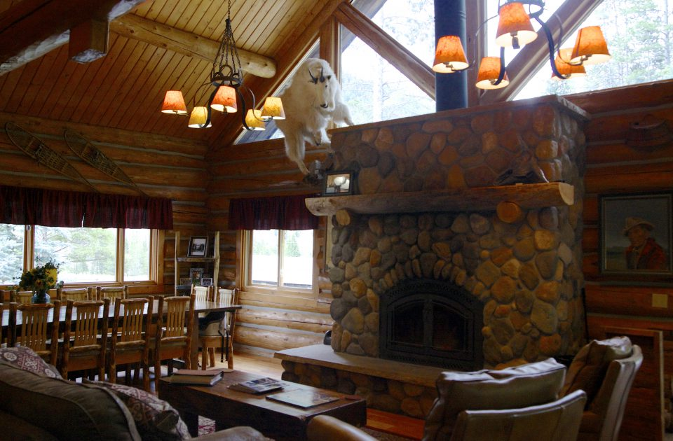 The cozy lodge at Covered Wagon Ranch is a great place to relax