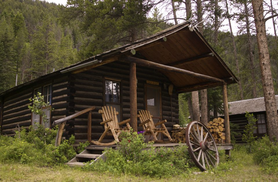 Historic log cabins with their original 1920s charm