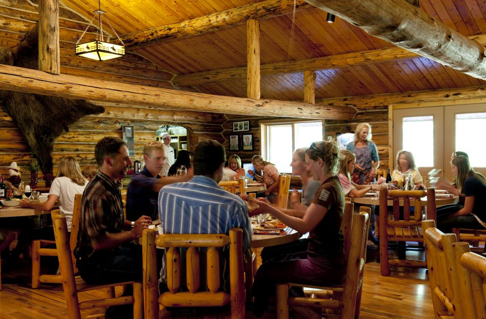 Family style dining at Triple J Wilderness Ranch