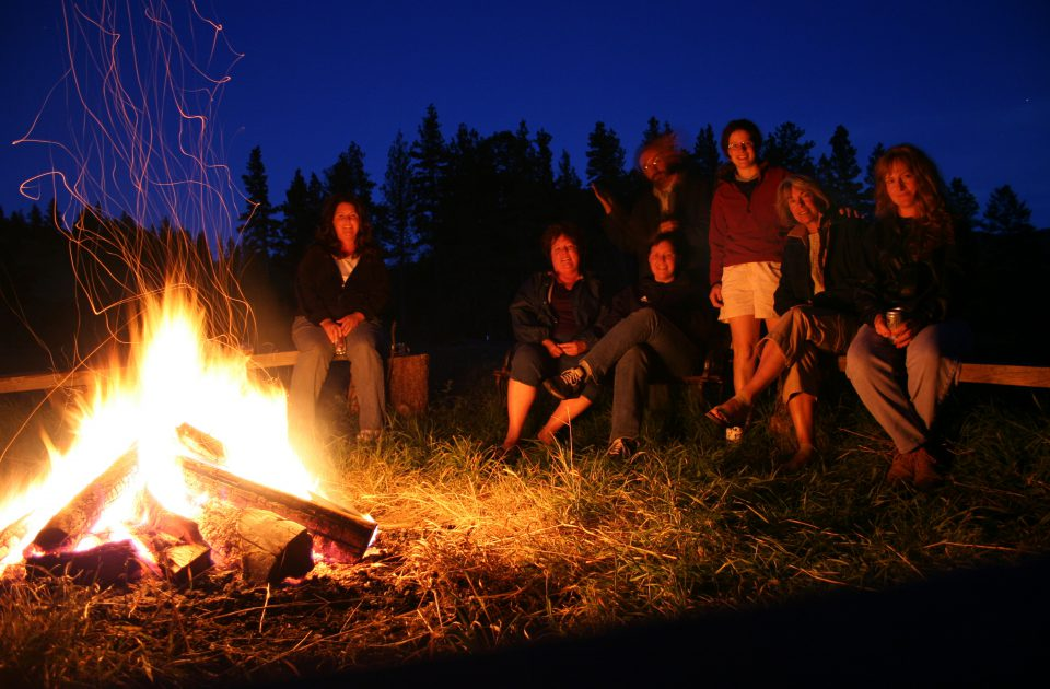 Gathering around the campfire is tradition at Blacktail Ranch