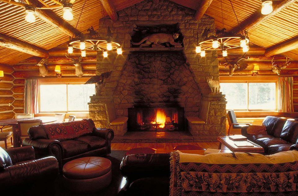 Cozy up next to the fire at Nine Quarter Circle Ranch